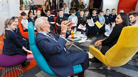 Buzz Aldrin talked to pupils about his experience as the second man to walk on the moon in 1969