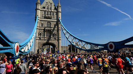 Tower Bridge is one of the landmarks on the London Marathon route, which around 38,000 will pass bef