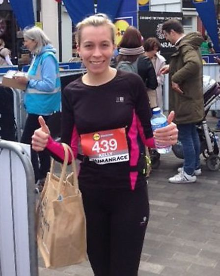 Kelly Evans, picture after completing the 20.1-mile Kingston Breakfast Run, is running the London Ma