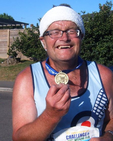Ian Alexander at the finish line of the Fairlands Valley Challenge marathon.