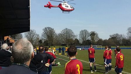 An air ambulance leaving the County Ground in Letchworth.