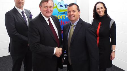 Medical Aviation Services managing director Henk Schaeken, second from left, with Essex and Herts Ai