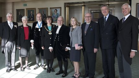 Stelio Stefanou (centre) was appointed High Sheriff of Hertfordshire at a ceremony at County Hall on