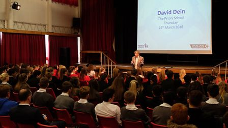 Former Arsenal vice-chairman David Dein speaks at the Priory School