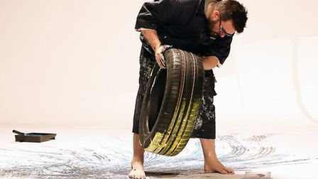Ian Cook (popbangcolour.com) making art with the Goodyear Eagle F1 Asymmetric 3 tyre