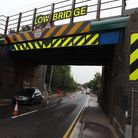 Work being carried out after a previous lorry strike at the bridge in North Road, Baldock.