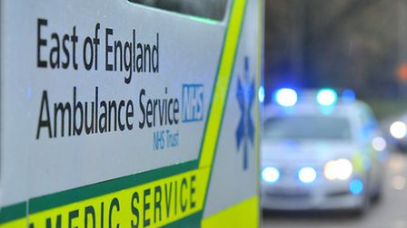 Ambulance crews are at the railway station in Stevenage after a person was hit by a train
