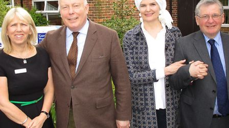 Downton Abbey creator Julian Fellowes and his wife Emma visited the Garden House Hospice in Letchwor
