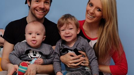 Max Keir and Gemma Brown with Caleb, 11 months and Logan Keir, 3 who has Digeorge syndrome in Logan'