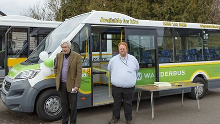 Whitbread Wanderbus chairman Paul Lanham with Nick Doolan from Central Beds Council at the Launch of