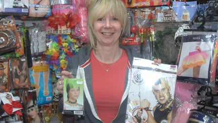 Martine South, of the The Party Box in Saffron Walden, with some of the products she has supplied to