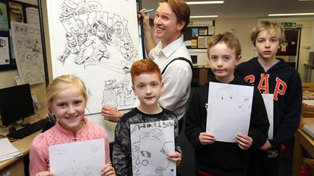 Beano artist Kev F Sutherland giving his masterclass at Hitchin Library, with Daisy Bradford, Jack D