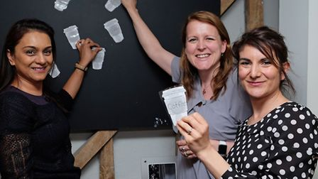 Harriet Kelsall staff (L-R) Parul Patel, owner Harriet Kelsall and Emily Ouazan at the fairtade coff