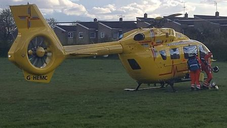 The East Anglian Air Ambulance landed behind Fairlands Way in Stevenage after a crash involving a cy