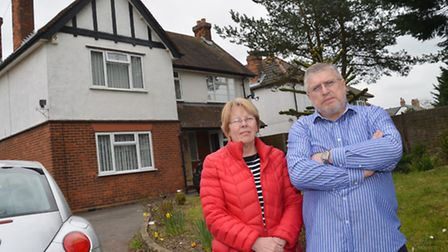 Rose and Bob Jackson outside their home in Stotfold High Street, which they have been evicted from d