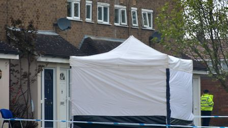 A forensic tent at the murder scene in Stevenage.