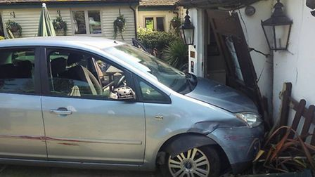 The car ploughed into the pub during the wake on Sunday afternoon.