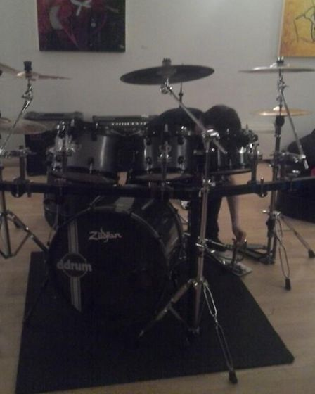 The drum kit belonging to the band Outright Resistance