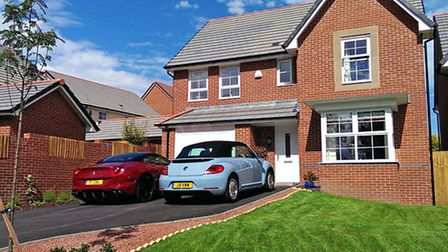 House, driveway, two cars