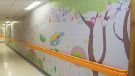 Lister Hospital, Stevenage: new mural at the entry to the neo-natal unit, funded by the families gro