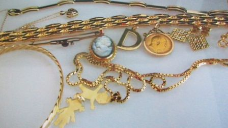 Some of the jewellery stolen in Hitchin.