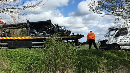 The two vehicles involved in the Hexton Road crash near Hitchin.
