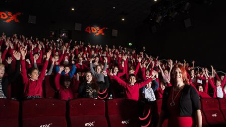Pupils from Broom Barns Primary School trying out the new 4DX screen at Cineworld in Stevenage today