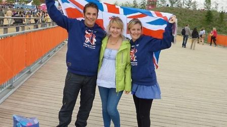 Matthew Edwards, with sister-in-law Lisa Day (centre) and wife Katy at the London Olympics in 2012.