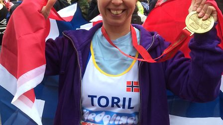 Toril Bugge at the end of the London Marathon