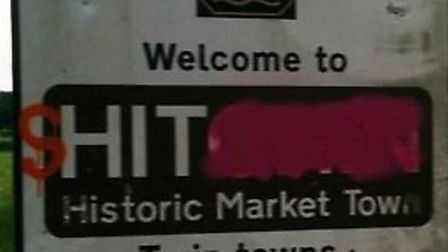 Vandals have defaced a Hitchin sign.