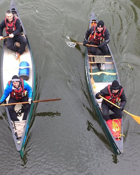 Canoe quartet Neil Norman, Phil Parker, Frank Gollogly and Adrian Le Roux practising for their exped