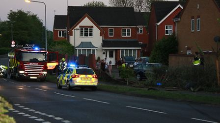 A car left the road on Magpie Crescent yesterday evening