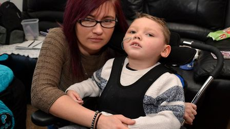 Lisa Zsentko with her son Stone, who contracted meningitis in October 2012.