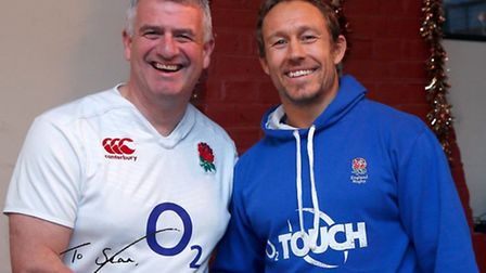 Two rugby union legends: Sean Tomlinson and Jonny Wilkinson.