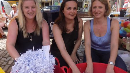 Fair In The Square: Samuel Lucas supporters Becky Jennings, Annabel Lait and Megan Wilkins with thei