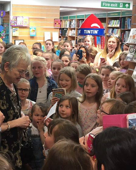 Jacqueline Wilson after cutting the ribbon on the new children's section at David's Bookshop in Letc