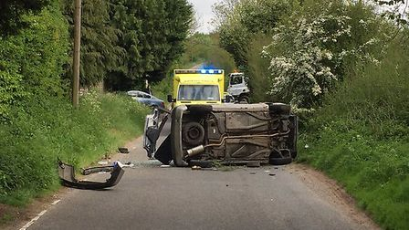 Crash at North Hall Road. Picture: @SgtColinShead
