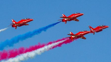 The RAF Red Arrows flew at the Shuttleworth Collection for the first time in more than 30 years. Cre