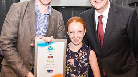 Young achiever of the year Jessica Hart with Iain Hutchinson of sponsors Altro Flooring Group and ho
