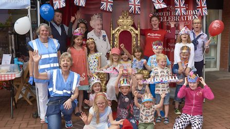 The Queen's 90th birthday celebrations at Letchworth Garden Square Shopping Centre.
