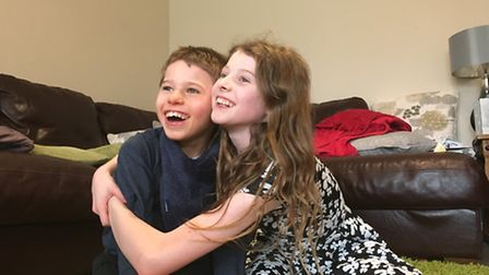 Hadley Clawson, 10, with his sister Bethany.