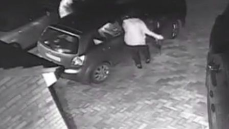 Two thieves are shown on the CCTV taking equipment from a car in Clavering