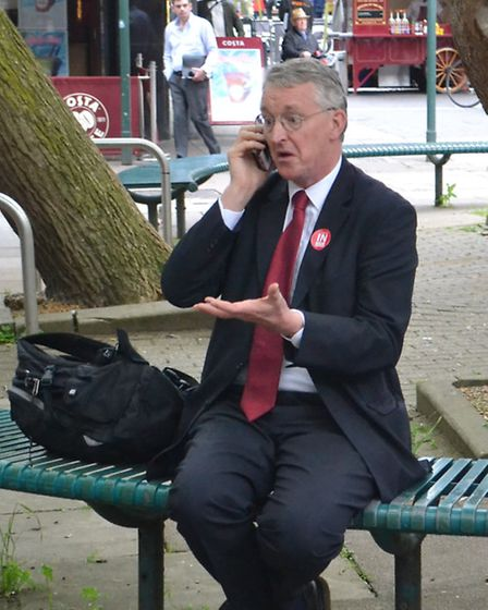 Hugh Madgin took this shot of Hilary Benn in Queensway, after he'd been dropped off by the Remain ca