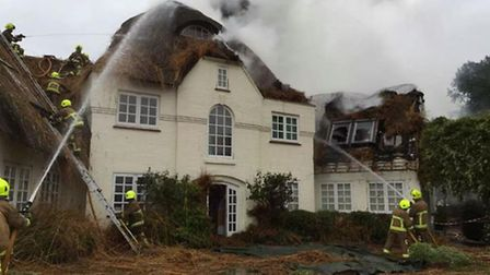 Firefighters combat the blaze at Node Court in Codicote last year. Photo: @redsfirewatford