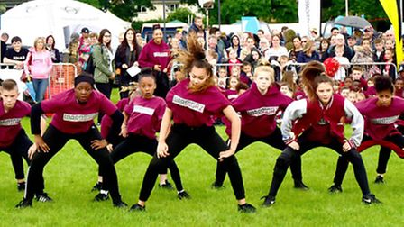 Dancers from the Warriorz Academy of Performing Arts performing in the main arena