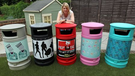 Rachel Campbell with the bins she has designed for Hitchin.