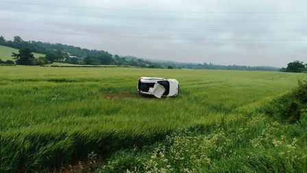 The overturned car in Clavering. Pic: Essex Fire and Rescue Service