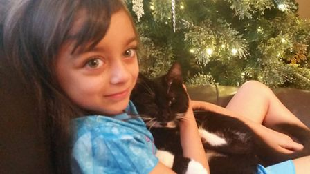 Sophia Taylor and Bella the cat.