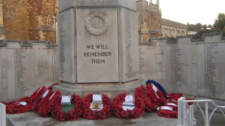 Remembrance Sunday: A collection of wreaths laid at Hitchin War Memorial.