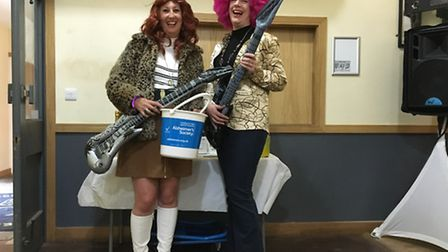 Sue Hutchinson and Lissa McGown at Friday's fundraising disco in Letchworth in aid of the Alzheimer'
